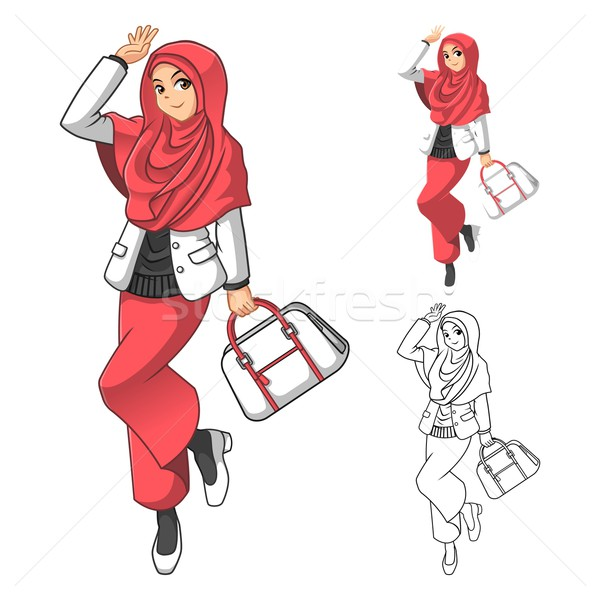Muslim Woman Fashion Wearing Pink Veil or Scarf Stock photo © ridjam