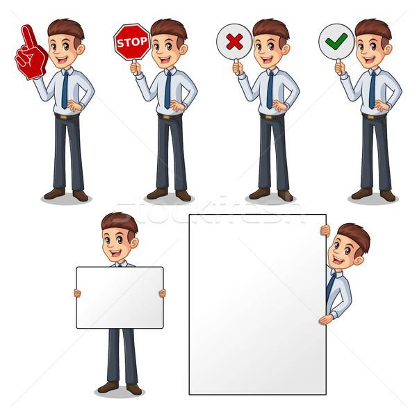 Set of businessman in shirt holding sign board Stock photo © ridjam