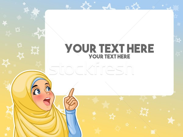Muslim woman excited pointing finger up at blank copyspace Stock photo © ridjam