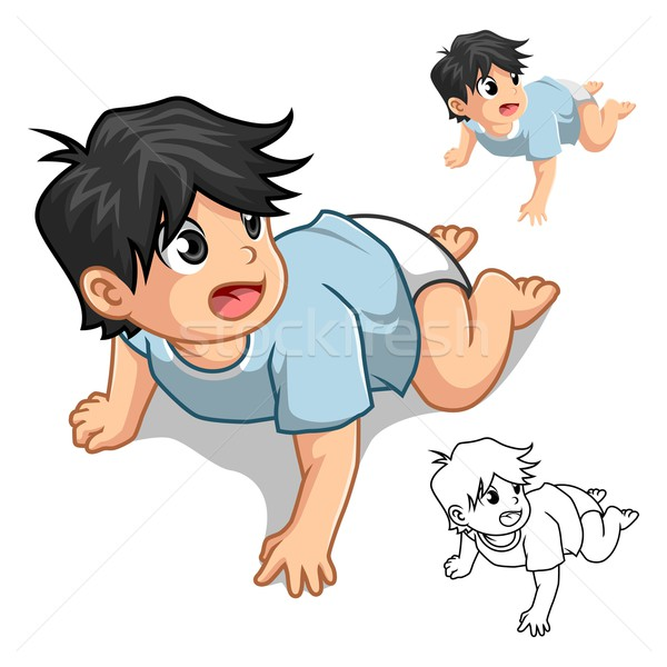 Baby Crawling Cartoon Character Include Flat Design and Outline Version Stock photo © ridjam