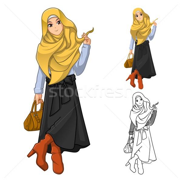 Muszlim nő divat visel citromsárga fátyol Stock fotó © ridjam