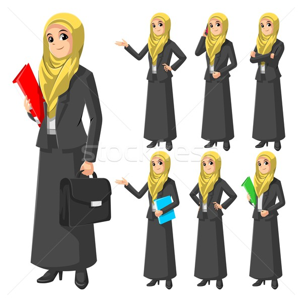 Set of Modern Muslim Businesswoman Stock photo © ridjam