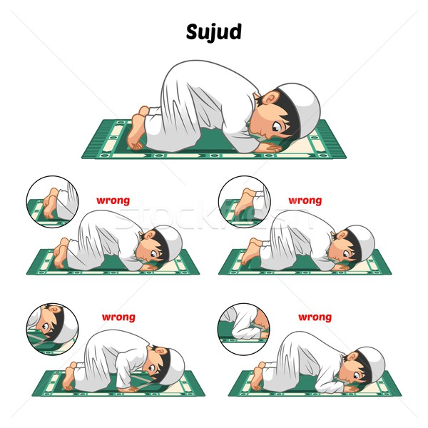 Muslim Prayer Guide Prostrating and Position of The Feet Stock photo © ridjam