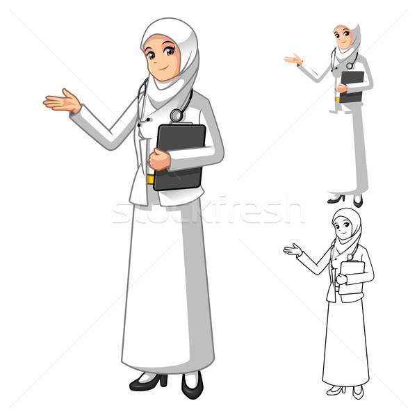 ストックフォト: ムスリム · 女性 · 医師 · 着用 · 白 · ベール