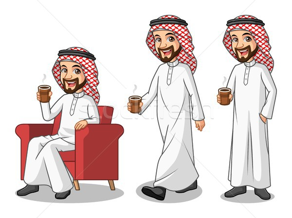 Set of businessman Saudi Arab Man making a break with drinking a coffee Stock photo © ridjam