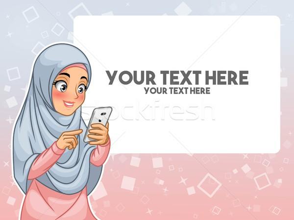Muçulmano mulher mão tocante indicação Foto stock © ridjam