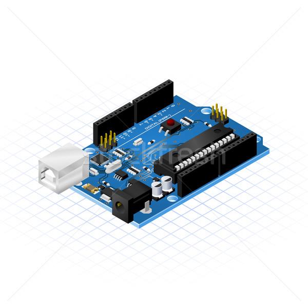 Isometrica bordo micro tecnologia blu scienza Foto d'archivio © ridjam