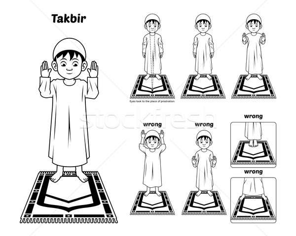 Muslim Prayer Guide Takbir Position Outline Stock photo © ridjam
