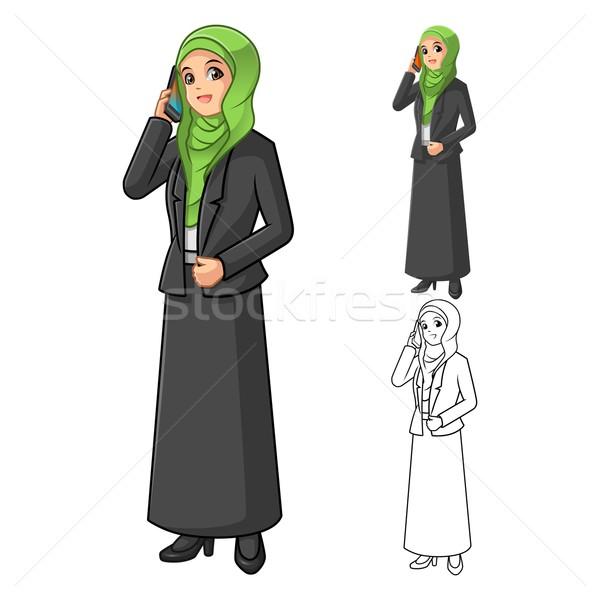 ムスリム 女性実業家 着用 緑 ベール ストックフォト © ridjam