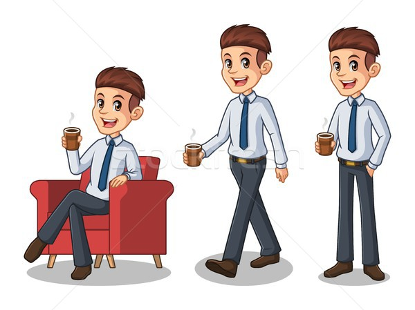 Set of businessman in shirt making a break with drinking a coffee Stock photo © ridjam