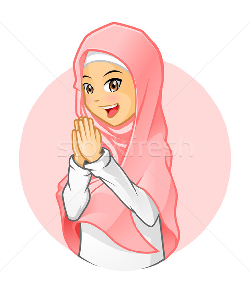 Muslim Girl Wearing Pink Veil with Welcoming Arms Stock photo © ridjam