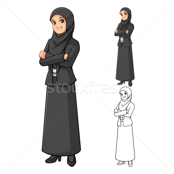 Muslim Businesswoman Wearing Black Veil with Folded Hands Stock photo © ridjam