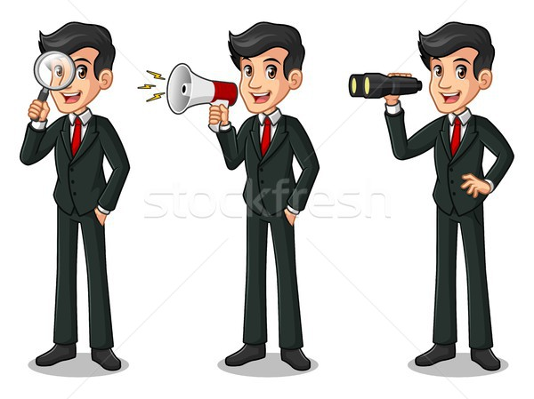Set of businessman in black suit looking for poses Stock photo © ridjam