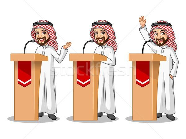 Conjunto empresário arábia Árabe homem discurso Foto stock © ridjam
