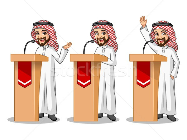 Set of businessman Saudi Arab Man giving a speech behind rostrum Stock photo © ridjam