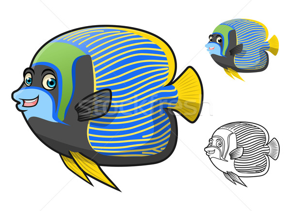 Emperor Angel Fish Cartoon Character Stock photo © ridjam