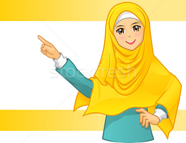 Muslim Woman Wearing Yellow Veil with Pointing Arms Stock photo © ridjam