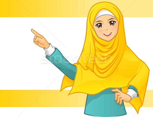 Müslüman kadın sarı peçe işaret Stok fotoğraf © ridjam
