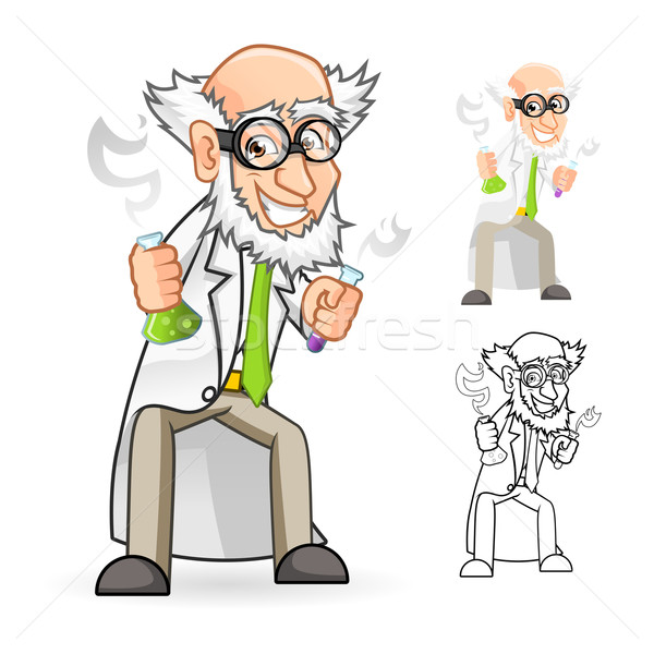 Scientist Cartoon Character Holding a Beaker and Test Tube Stock photo © ridjam