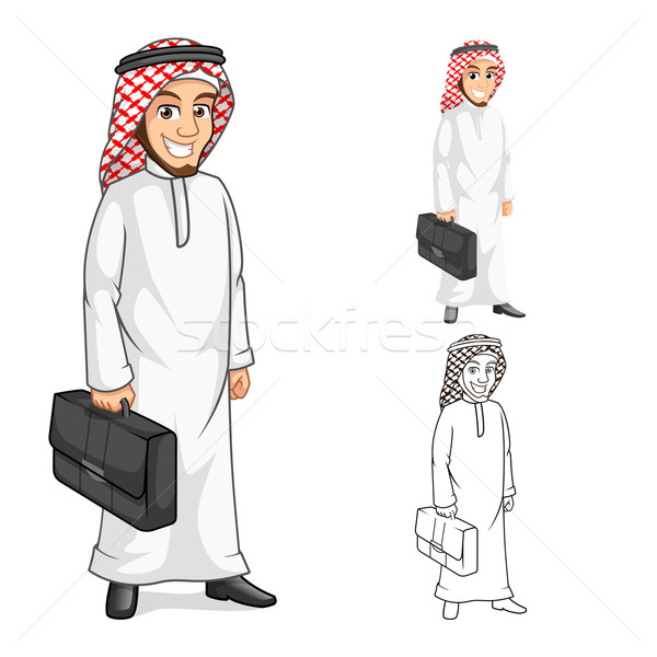 Middle Eastern Businessman Holding a Briefcase or Bag Cartoon Character  Stock photo © ridjam