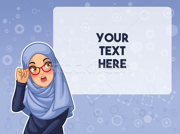 Muslim woman shocked with holding her glasses vector illustration Stock photo © ridjam