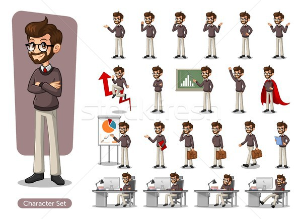 Set of hipster businessman cartoon character design Stock photo © ridjam