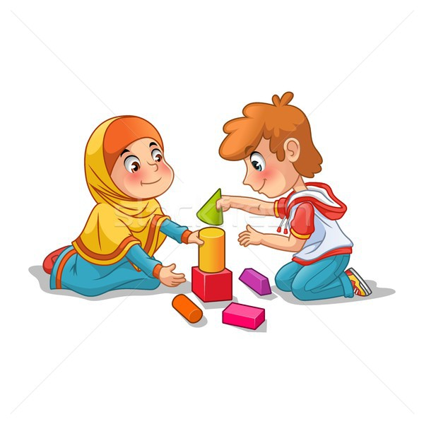 Muslim Girl and Boy Playing with Building Blocks Stock photo © ridjam