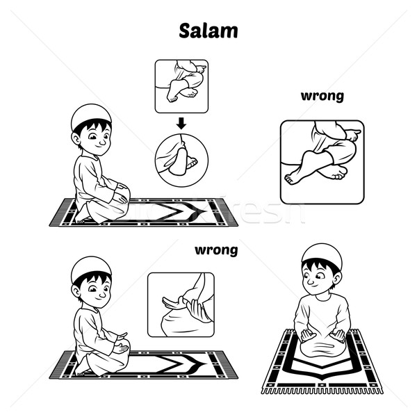 Muslim Prayer Guide Salam Position Outline Stock photo © ridjam