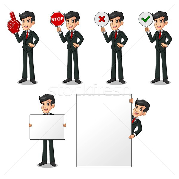 Set of businessman in black suit holding sign board Stock photo © ridjam