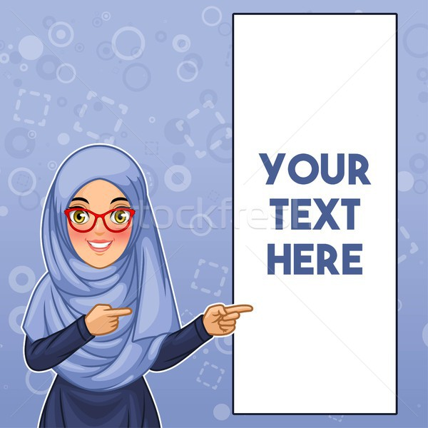 Muslim woman pointing finger to the left side at copy space Stock photo © ridjam