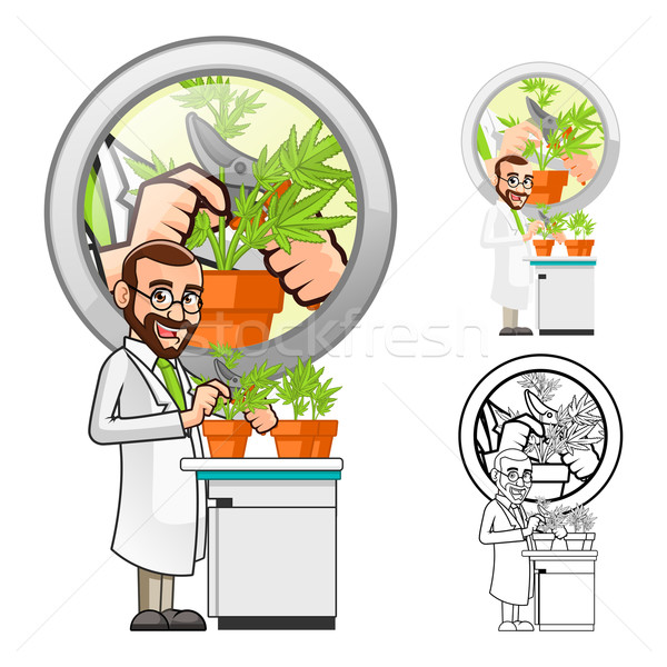 Plant Scientist Cartoon Character Cutting a Leaf from a Plant Stock photo © ridjam