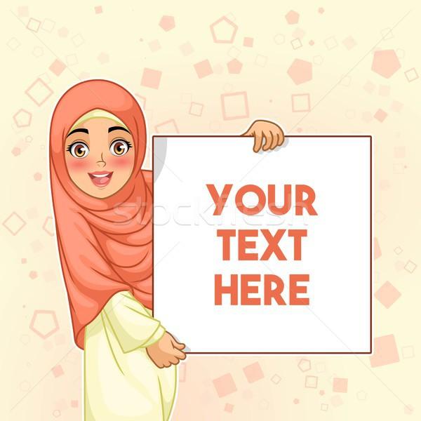 Muçulmano mulher sorrindo conselho jovem branco Foto stock © ridjam