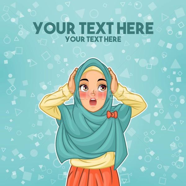 Muçulmano mulher surpreendido cabeça jovem Foto stock © ridjam