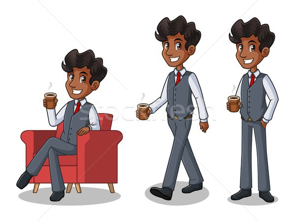 Stock photo: Set of businessman in vest making a break with drinking a coffee