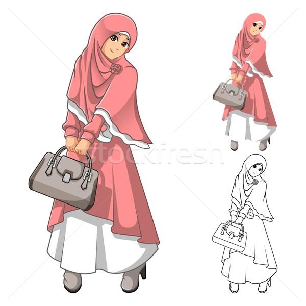 Müslüman kadın moda pembe peçe Stok fotoğraf © ridjam