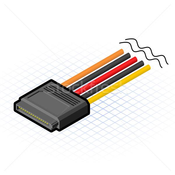 Stock photo: Isometric Six Teen Pin SATA Connector