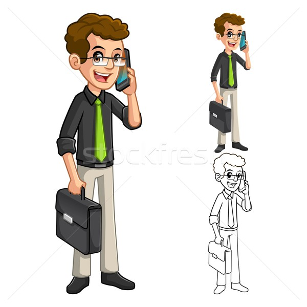 Businessman with Glasses Holding a Smart Phone Cartoon Character Stock photo © ridjam