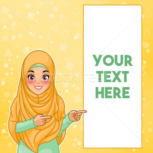 Muçulmano mulher indicação dedo lado jovem Foto stock © ridjam