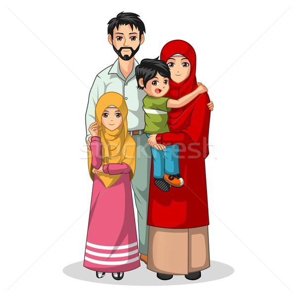 Muslim Family Cartoon Character Stock photo © ridjam