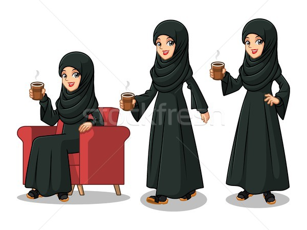 Set of Arab businesswoman in black dress making a break with drinking a coffee Stock photo © ridjam