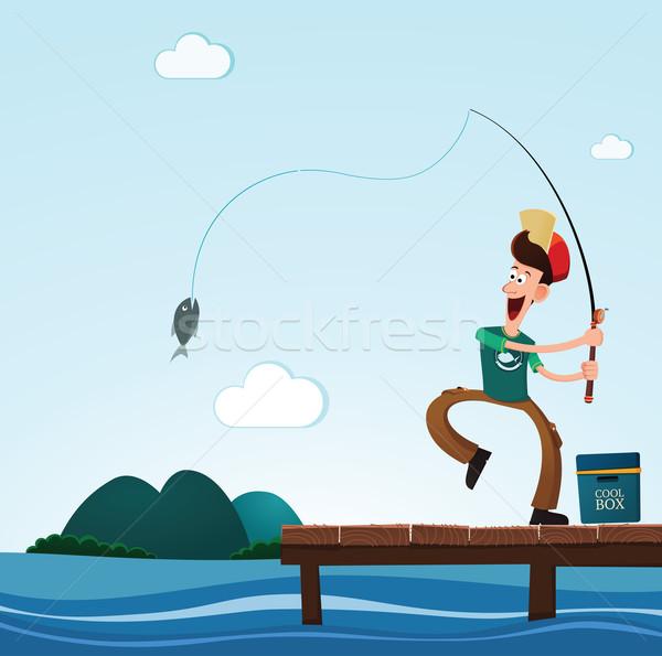 Fischerei Meer junger Mann glücklich Fisch Strand Stock foto © riedjal
