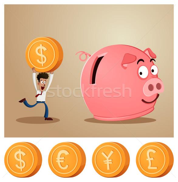 saving money into piggybank Stock photo © riedjal