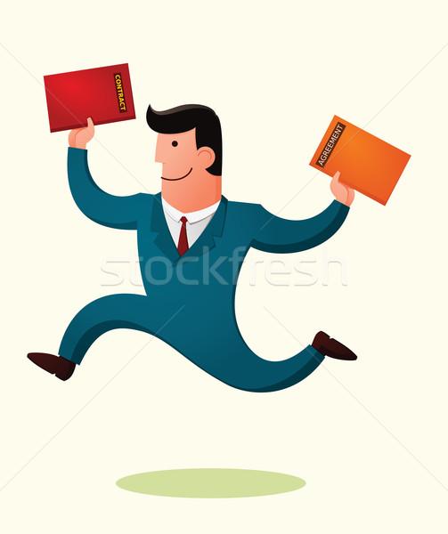 Gewinnen Vertrag Direktor springen lächelnd glücklich Stock foto © riedjal
