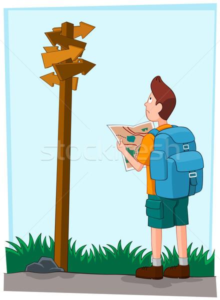 Confundirse viajero jóvenes dirección signo caminando Foto stock © riedjal