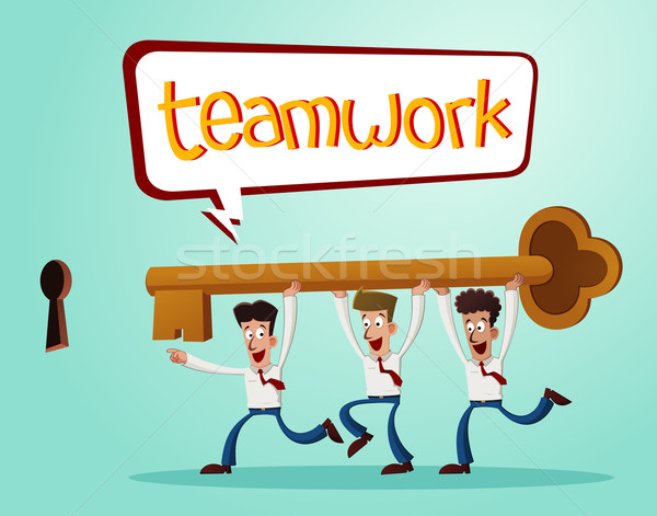 Lösen Probleme zusammen Büroangestellte Schlüssel Stock foto © riedjal