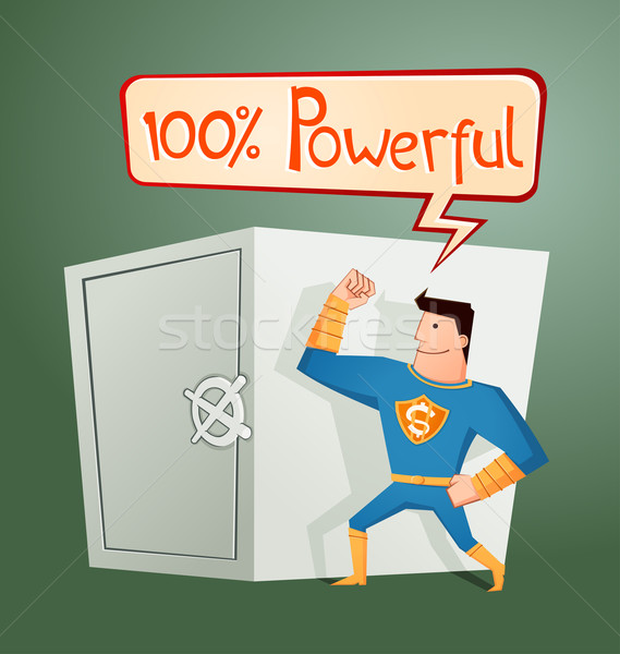 superhero guarding a deposit box Stock photo © riedjal