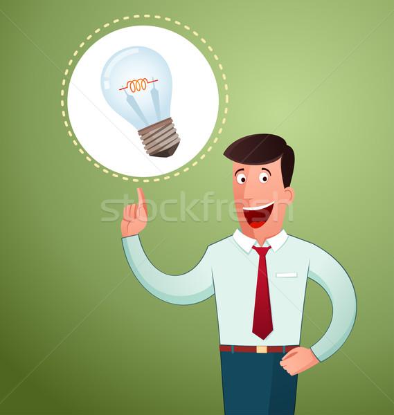 Idee junger Mann lächelnd Büro Arbeitnehmer smart Stock foto © riedjal