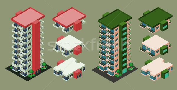 Isometric Apartment Isometric Building Stock photo © riedjal