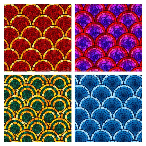 Rundschreiben Ziegel Muster unterschiedlich Farbe Textur Stock foto © riedjal