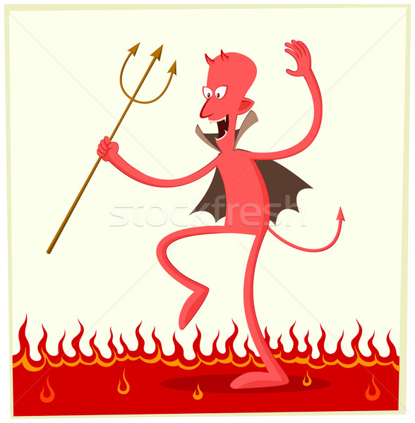 Dancing satana felicemente sopra fuoco successo Foto d'archivio © riedjal